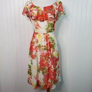 AB Studio Floral Fluttter Cap Sleeve Ruffle Dress